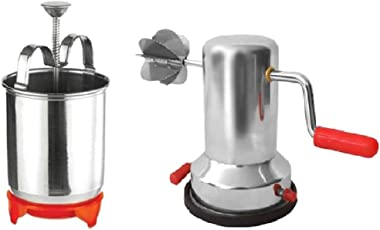 Meduvada Maker with Stand and Vacuum Base Coconut Scraper - Combo (Stainless Steel)