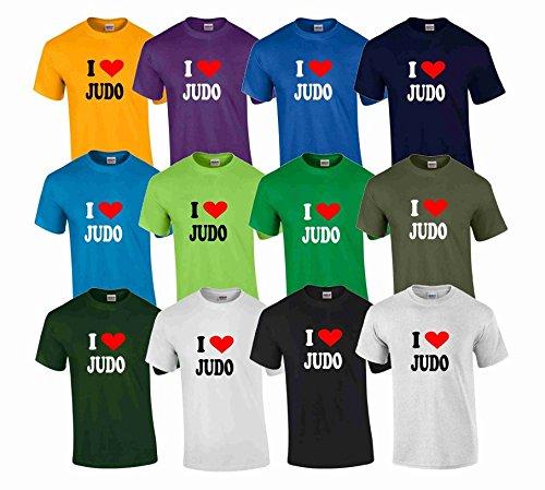 S.B.J - Sportland schweres Qualitäts T-Shirt I Love Judo, Farbe Weiss, Gr. S