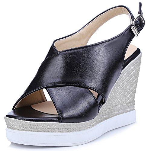 Damenschuhe Sandalen Peep Toe High-Heel Keilabsatz Slingback mit Plateau Schwarz