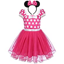 Infant Baby Toddlers Girls Christmas Polka Dots Leotard Birthday Princess Bowknot Tutu Dress Xmas Cosplay Pageant Cute Mouse Dress up Fancy Costume Party Outfits with 3D Ears Headband 1-8 Years