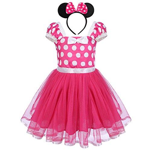 Neugeborene Säuglings Kleinkind Baby Mädchen Prinzessin Tüll Kleid Polka Dot Ballettkeider Trikot Tanzkleider Weihnachten Karneval Cosplay Kleid mit Maus Ohren Bowknot Partykleid Outfits Rosa