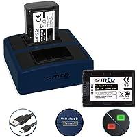 2 Baterías + Cargador doble Compact (USB) para NP-FH50, FP50 | Sony DSC-HX100(V).. | Alpha 390.. | HDR-TG7(VE).. | DCR-SR32, SX30.. + e più- v. lista - Cable USB micro incluido