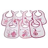 Bavoirs imprimés 7 jours de la semaine pour bébé - options fille ou garçon (lot de 7) (0-6 mois) (Rose)