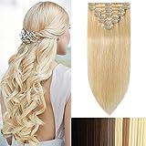Extension a Clip Cheveux Naturel Rajout Cheveux Humains Naturels - 100% Remy Human Hair Haute Qualité (#613 Blond très clair, 60cm-120g)