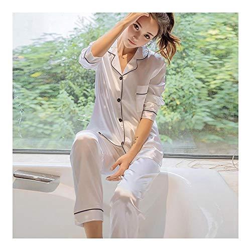 HAOLIEQUAN Silk Satin Button Solide Frauen Pyjamas Set Langarm Umlegekragen Zwei Stück Frauen Herbst Hose Bademantel Nachthemd, Weiß, XL