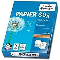 Avery Ramette de 500 Feuilles Papier A4 80g pour Photocopieurs et Imprimantes Laser et Jet d'Encre (2574)