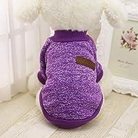 Idepet - Suéter para mascota, gato o perro, forro polar para cachorro, tamaños pequeño, mediano y grande, color rosa y gris (rosa en tamaño pequeño)
