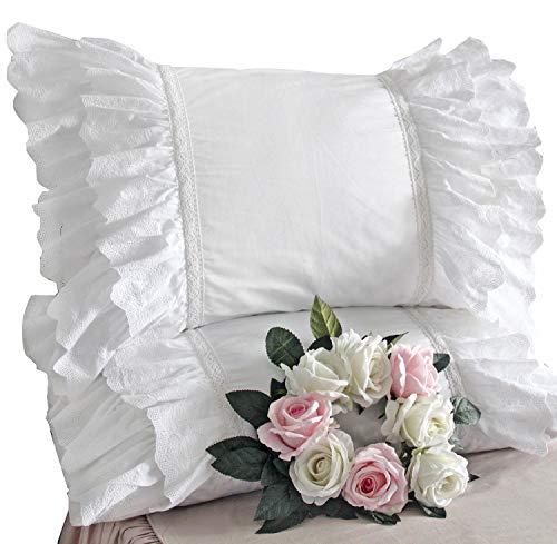 Queen's House White Shams Shabby Chic King/Cal King Victorian White -
