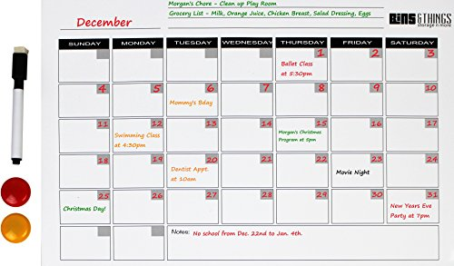 Magnetic Dry Erase Calendar with 1 Markers and 2 Magnets for Planning Out Your Days, Weeks, and Months. 17x11 Inch Daily Planner that Makes Organizing Easy. Perfect for Teachers, Parents, Students
