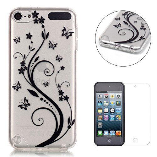 CaseHome Silicone Gel iPod Touch 5/6 Hülle(Mit Frei HD Displayschutzfolie) Transparent Weiche Silikon Schutzhülle,Weicher Flexibel Klar Gel Silikon TPU Hülle Superdünn Stoßfest Tasche Telefon-Kasten Schutz Tasche Schutzhülle Durchsichtig Handyhülle Silikon Case Schale für Apple iPod Touch 5/6 with Unique Black Pattern Design-Butterfly Floral Leaf