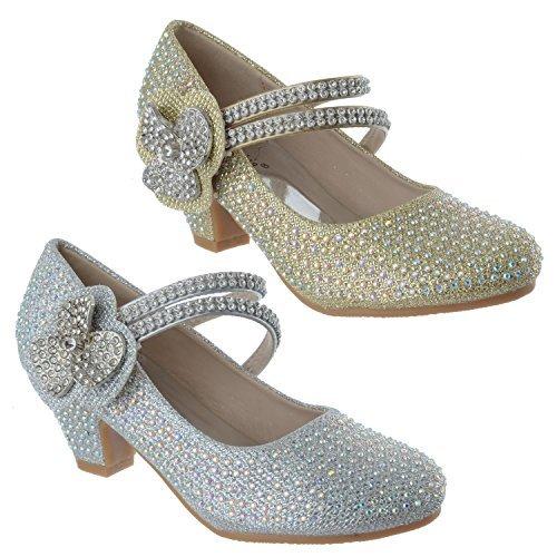 Miss Image UK Neuf Filles Enfants Talon Bas Fête Mariage Strass Fleur Sandales Chaussures Pointure