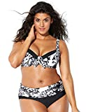 Donna Taglie Forti Bikini Set Coordinati Stampato Boemia Reggiseno Costume da Bagno Due Pezzi Plus Size Mare Spiaggia Costumi (XL, Nero-bianco)