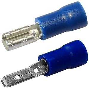 Aerzetix: 200x Cosse électrique mâle femelle plate 2.8mm 0.8mm 1.5-2.5mm2 isolée bleue C11493C11519 pas cher – Livraison Express à Domicile