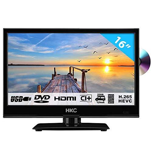 Foto HKC 16M4C: 39,6 cm (16 pollici) LED TV con lettore DVD (HD Ready, Triple Tuner, CI +, Media Player USB 2.0, Caricabatteria da auto 12V) [Classe energetica A +]
