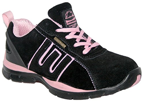 LADIES LIGHTWEIGHT LEATHER UPPERS, STEEL TOE CAP LACE UP SAFETY TRAINER.