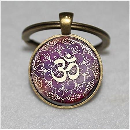 Schlüsselanhänger mit Baum des Lebens, Yoga, Om, Aum, Zen, Meditation, Buddhismus, violetter Schlüsselanhänger…