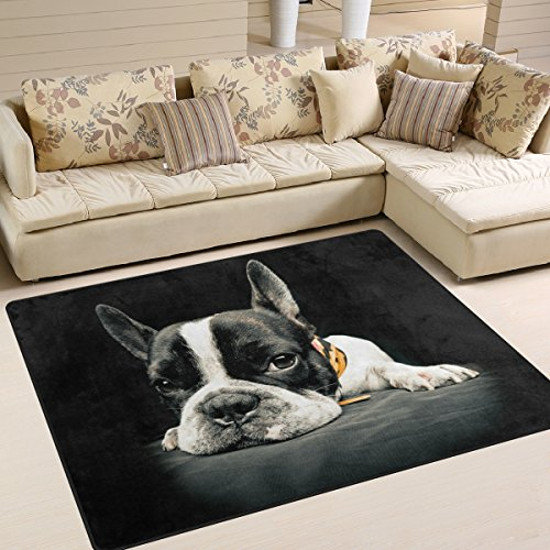 Naanle Alfombra antideslizante para salón, comedor, dormitorio, cocina, 50 x 80 cm, diseño de perro...