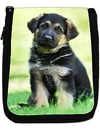 German Shepherd Dog Medium Black Canvas Shoulder Bag - Size Medium