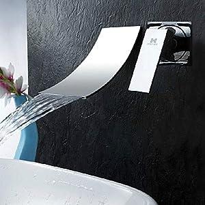 Grifo Cascada Lavabo Pared Mezcladora de Grifo Bañera Sola Manija Agua Caliente y Fria Grifo Baño Cromo Pulido Moderno…