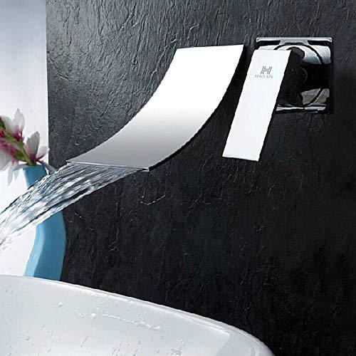 HAOXIN Wasserhahn Wasserfall Wandmontage Waschtischarmatur für Wand Unterputz Einzelgriff Armatur Badewanne Messing Chrom