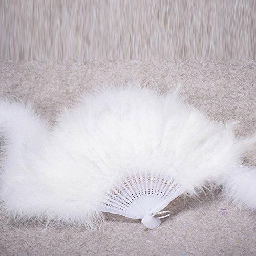 FeiliandaJJ Tanzparty Showgirl Faltfächer Handfächer Damen Vintage Elegant Feder Chinesischer Stil für Hochzeits Party Dekoration Geschenk Ethnischer Tanz Chinesisches Kung Fu Sommer Lüfter (Weiß)