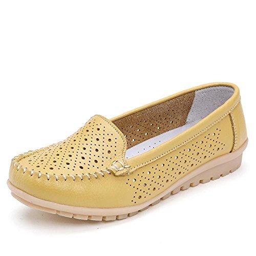 Minetom Femme Chaussure Ballet Casual Creux Plat Chaussures Tout-match Plat Escarpins Mocassin Confort Chaussures de Bateau Jaune