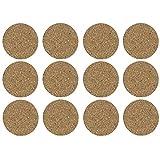 12 Stück Untersetzer aus Kork - Glasuntersetzer rund / Korkuntersetzer. Durchmesser : 9,5 cm. Extra flach (nur 0,2 cm)