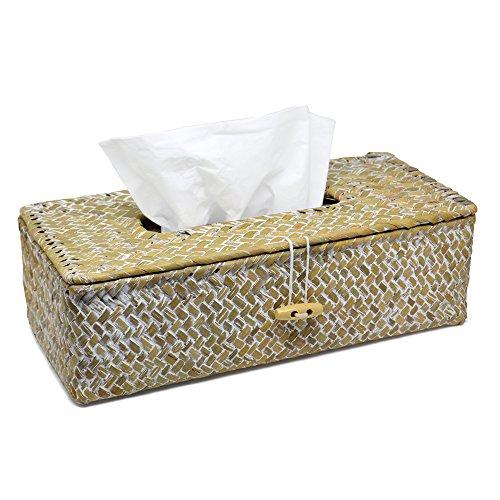 Handgefertigte Taschentuch-Box | Dekorativer Kosmetiktücher-Spender (Tissue-Box) in modernem Seegras Design | Für alle handelsüblichen Papiertücher und Schminktücher | L27 x B13 x H8 cm | weiß-braun Seegras-boxen