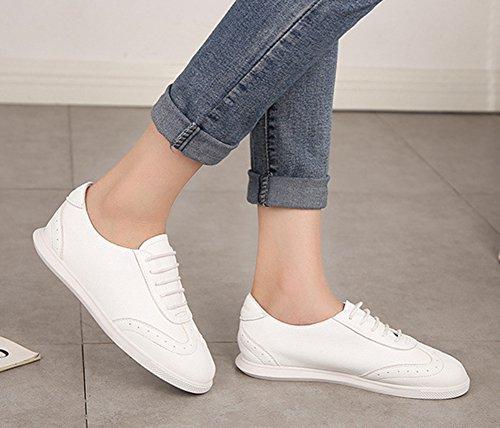 Aisun Damen Modisch Sportlich Casual Schnüren Loafer Sneakers Weiß