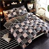 AZSUR Vier Stück Baumwolle bedeckt Bettdecke, Reine Baumwolle Korallen Haufen Bettwäsche, Herbst und Winter Warmes Bett Gesetzt, 1,2 m Bett (1,5 * 2,0 m Bettdecke) Bettlaken, Law Englisch