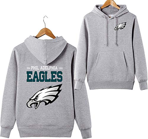 ZXTXGG Männer 3D Hoodies Philadelphia Eagles NFL Football Team Uniform Muster Digitaldruck Liebhaber Kapuzenpullis(XXL,Grau)