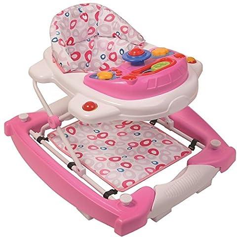 3IN1 Lauflernhilfe mit Spielcenter (12 Melodien) Gehfrei Gehhilfe Baby Walker Babyschaukel (Candy)