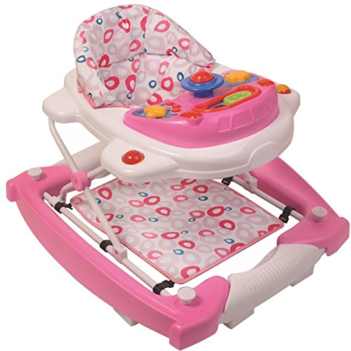 3IN1 Lauflernhilfe + Spielcenter (12 Melodien) Gehhilfe Baby Walker Babyschaukel (Candy)