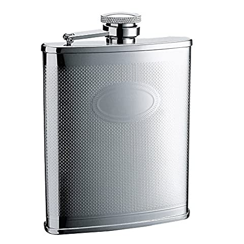 SAVAGE 18/8 Stainless Steel 6oz Hip Flask with Rim Mat Engraving Design Mirror Finished RMF-41