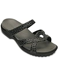 crocs Women's Croslite Meleen Twist Mickey Sandals (Black, W5)