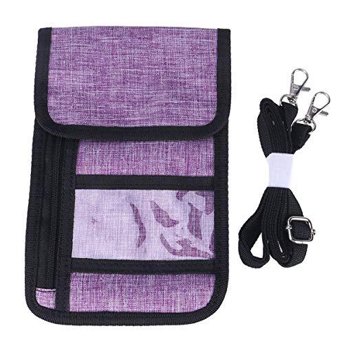 FENICAL Reisepass Brieftasche Halter Hals RFID Sperrung Reisetasche Geldhalter für Frauen Männer (lila) (Passport-halter Für Männer Hals)