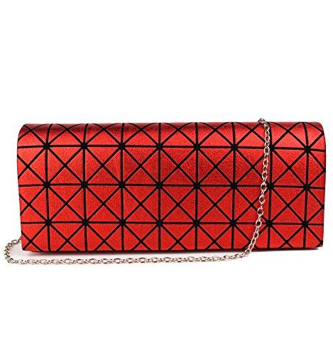 Schompi Geometrische Damen Tasche Abendtasche Clutch Bag mit abnehmbarer Schulterkette Kettentasche Metallic Look, Farbe:Rot (Glitter-abend-clutch Purse)