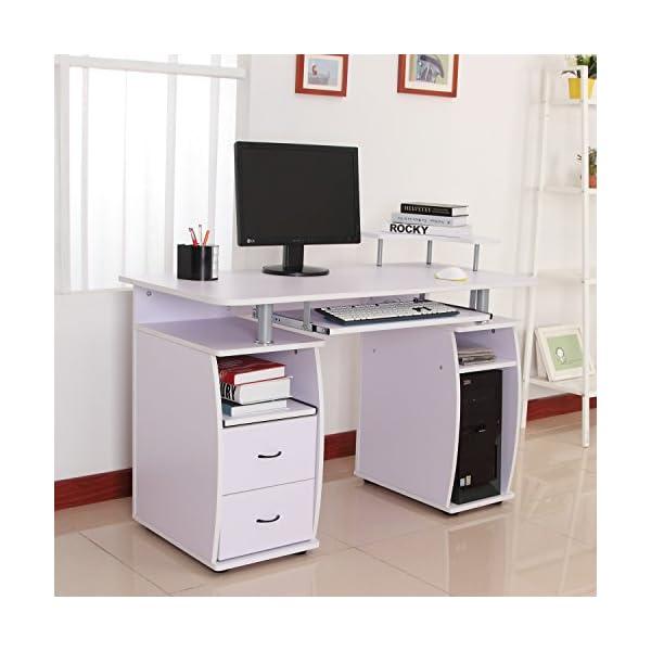 Homcom Wooden Office Computer Pc Table Wood Desk Desktop Home