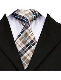 Wang - Conjunto de corbata para hombre con gemelos cuadrados de bolsillo