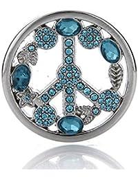Silvity Damen Halskette 60 cm Edelstahl und Anhänger mit Coin 33 mm