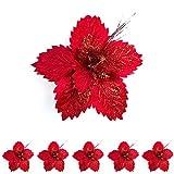 Bellera Set 6 Fiori Natalizi Colore Rosso, in Tessuto E Gambo Corto, Perfetti Come Decorazioni per Il Vostro Albero di Natale