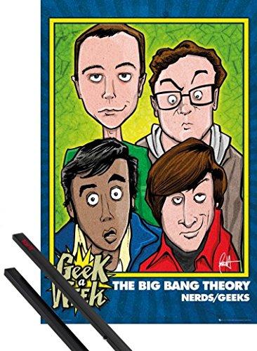 1art1® Poster + Suspension : The Big Bang Theory Poster (91x61 cm) Nerds Geeks Et Kit De Fixation Noir
