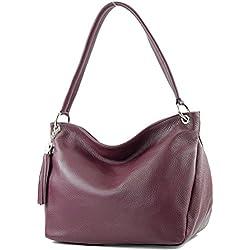 modamoda de - ital bolsa de hombro/hombro hecha de cuero T154, Color:violeta Burdeos