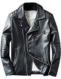 BaZhaHei Homme Hiver Revers Manteau en Cuir PU Manteau Mince Moto Veste  Décontractée pour Hommes Jacket 0bb65fb4ae47