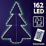 Bakaji Albero Luminoso Per Esterno Interno 162 Led Multicolore RGB Con Telecomando Controllo Remoto Giochi Di Luce Illuminazione Luci Natalizie Natale 67 x 91 cm