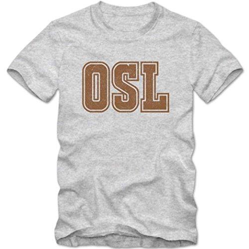 OSL Premium T-Shirt   Airport-Shirt   Oslo   Reisen   Herren   Shirt © Shirt Happenz Graumeliert (Grey Melange L190)