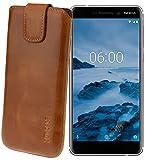 Suncase Original Etui Tasche für Nokia 6 (2018) | Nokia 6.1 *Lasche mit Rückzugfunktion* Handytasche Ledertasche Schutzhülle Case Hülle in Cognac
