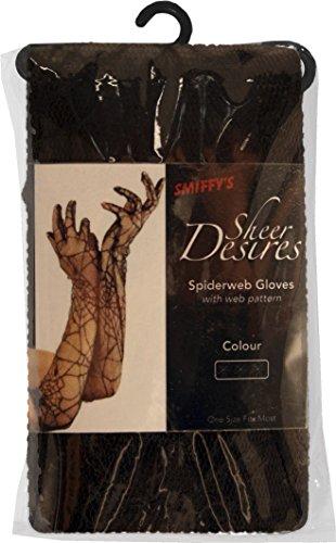 Smiffys, Fever Damen Spitzen Handschuhe mit Spinnweben, 53cm, One Size, Schwarz, (Dunkle Kostüme Fee Ideen)