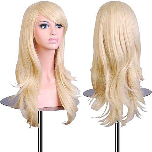 Anime Cosplay Perücke Kostüm Party Synthetisches Haar Voll Perücke Curly Wellig In Silber Grau Rosa Blond Lila Rot (70cm, Blond) (Anime Kostüm Perücken)