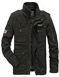 JZWXX Nouveau Hommes Printemps Automne Style militaire à manches longues Coton Casual léger chaude Veste Zippée Parka Trench Coats